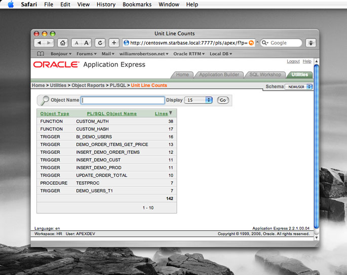 Screenshot of Application Express running in Safari