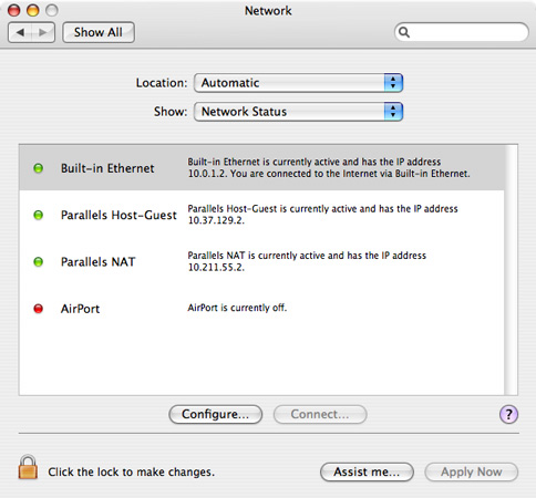 Screenshot of System Preferences, Network